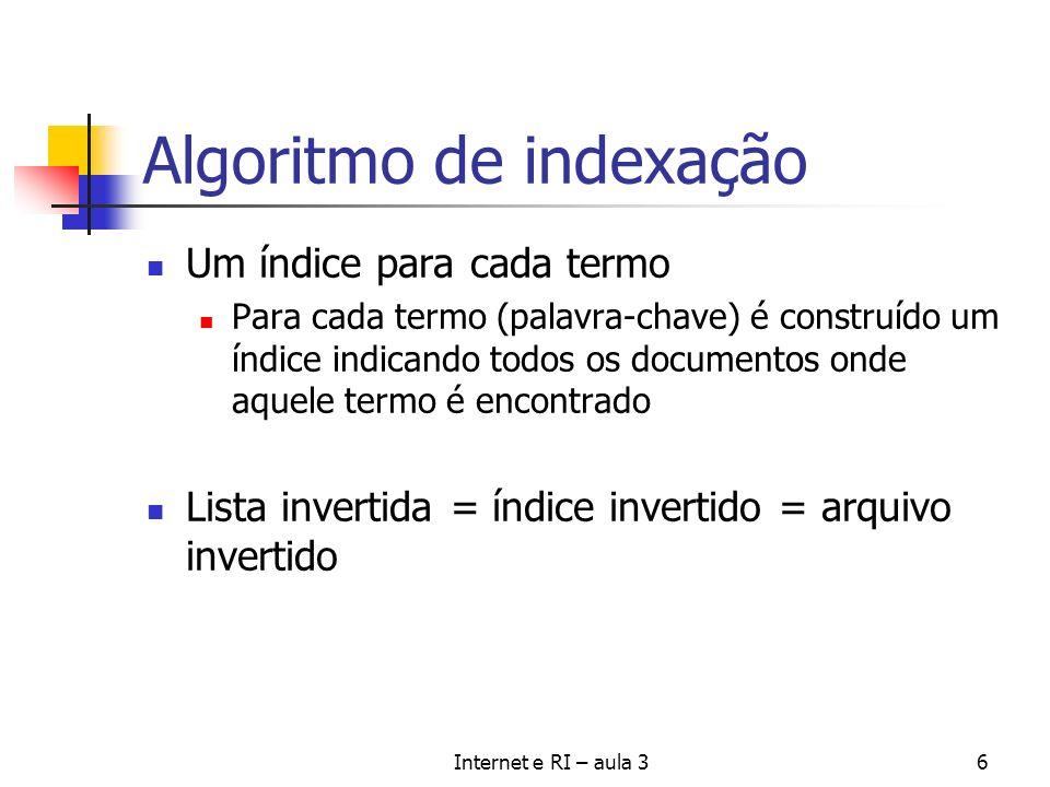 Internet e RI – aula 36 Algoritmo de indexação Um índice para cada termo Para cada termo (palavra-chave) é construído um índice indicando todos os doc