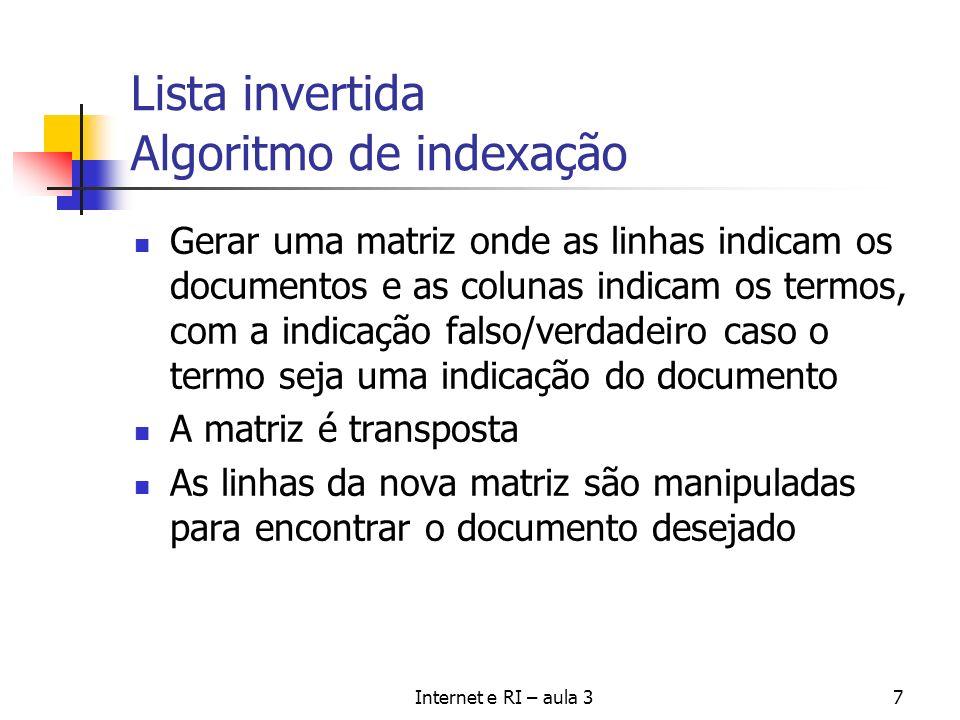 Internet e RI – aula 37 Lista invertida Algoritmo de indexação Gerar uma matriz onde as linhas indicam os documentos e as colunas indicam os termos, c