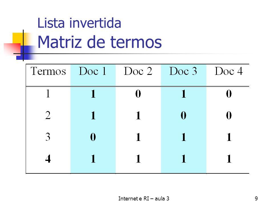 Internet e RI – aula 330 Modelo Vetorial - similaridade Similaridade entre cada documento armazenado e uma consulta feita freq(k, S) -> TF log (N/n K ) -> IDF frequência do termo k no documento/ consulta S) Inverse document frequency.