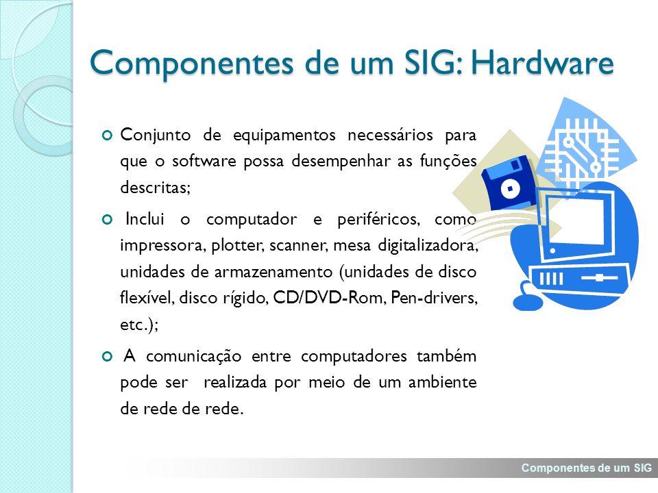 Componentes de um SIG: Hardware Conjunto de equipamentos necessários para que o software possa desempenhar as funções descritas; Inclui o computador e periféricos, como impressora, plotter, scanner, mesa digitalizadora, unidades de armazenamento (unidades de disco flexível, disco rígido, CD/DVD-Rom, Pen-drivers, etc.); A comunicação entre computadores também pode ser realizada por meio de um ambiente de rede de rede.