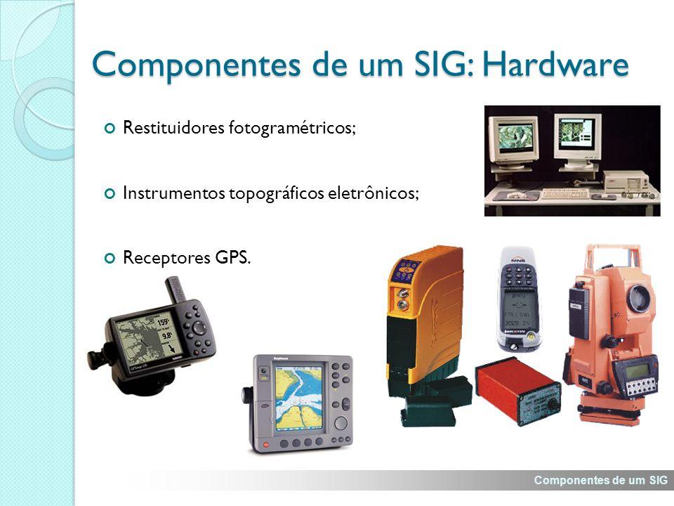 Restituidores fotogramétricos; Instrumentos topográficos eletrônicos; Receptores GPS.