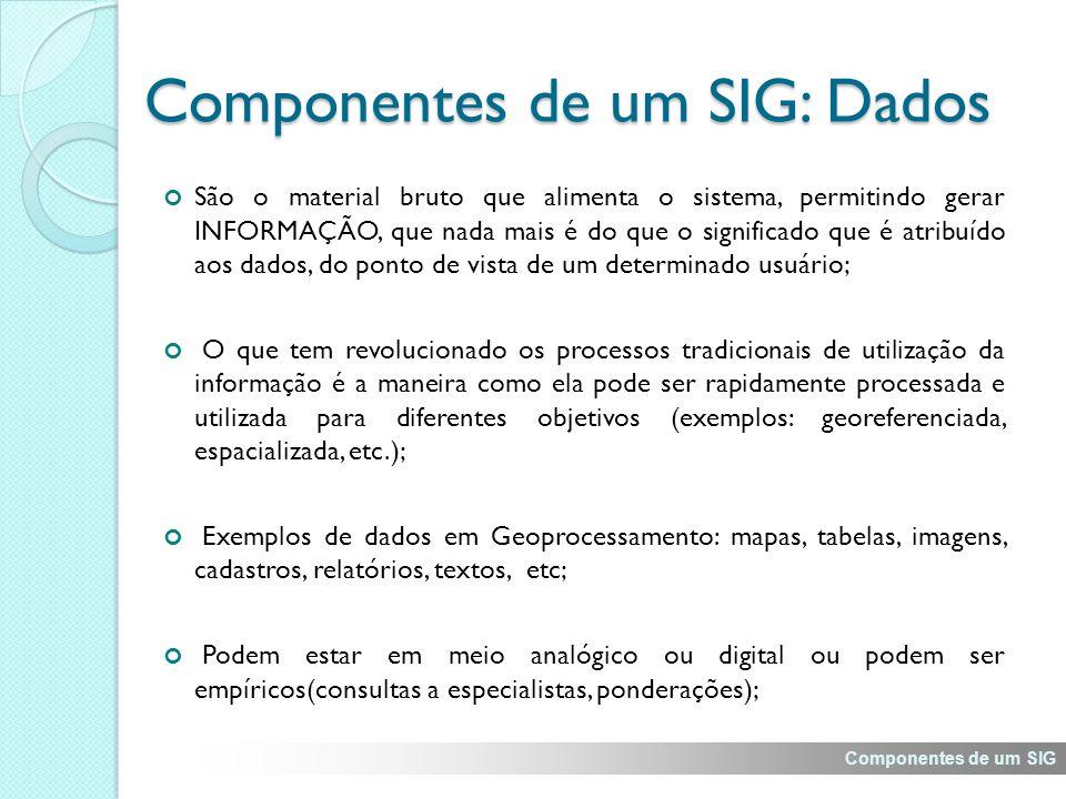 Componentes de um SIG: Dados São o material bruto que alimenta o sistema, permitindo gerar INFORMAÇÃO, que nada mais é do que o significado que é atribuído aos dados, do ponto de vista de um determinado usuário; O que tem revolucionado os processos tradicionais de utilização da informação é a maneira como ela pode ser rapidamente processada e utilizada para diferentes objetivos (exemplos: georeferenciada, espacializada, etc.); Exemplos de dados em Geoprocessamento: mapas, tabelas, imagens, cadastros, relatórios, textos, etc; Podem estar em meio analógico ou digital ou podem ser empíricos(consultas a especialistas, ponderações); Componentes de um SIG
