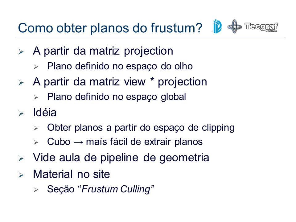 Como obter planos do frustum? A partir da matriz projection Plano definido no espaço do olho A partir da matriz view * projection Plano definido no es