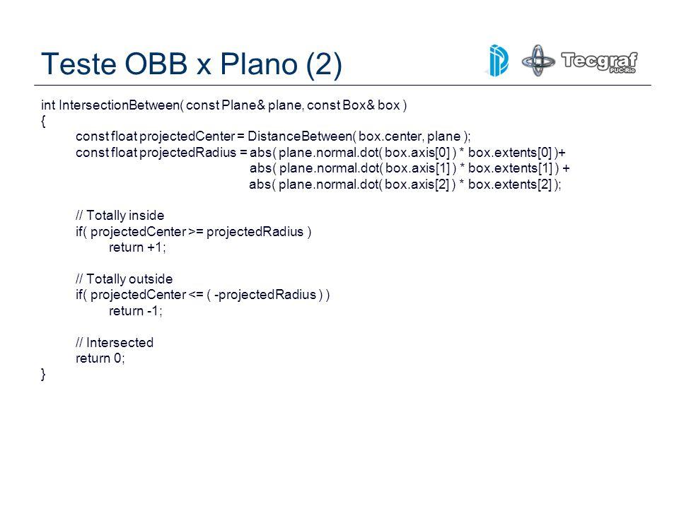 Teste OBB x Plano (2) int IntersectionBetween( const Plane& plane, const Box& box ) { const float projectedCenter = DistanceBetween( box.center, plane