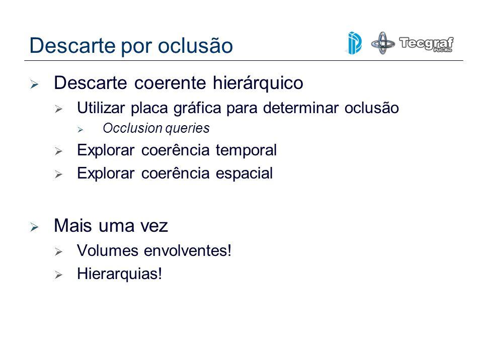 Descarte por oclusão Descarte coerente hierárquico Utilizar placa gráfica para determinar oclusão Occlusion queries Explorar coerência temporal Explor