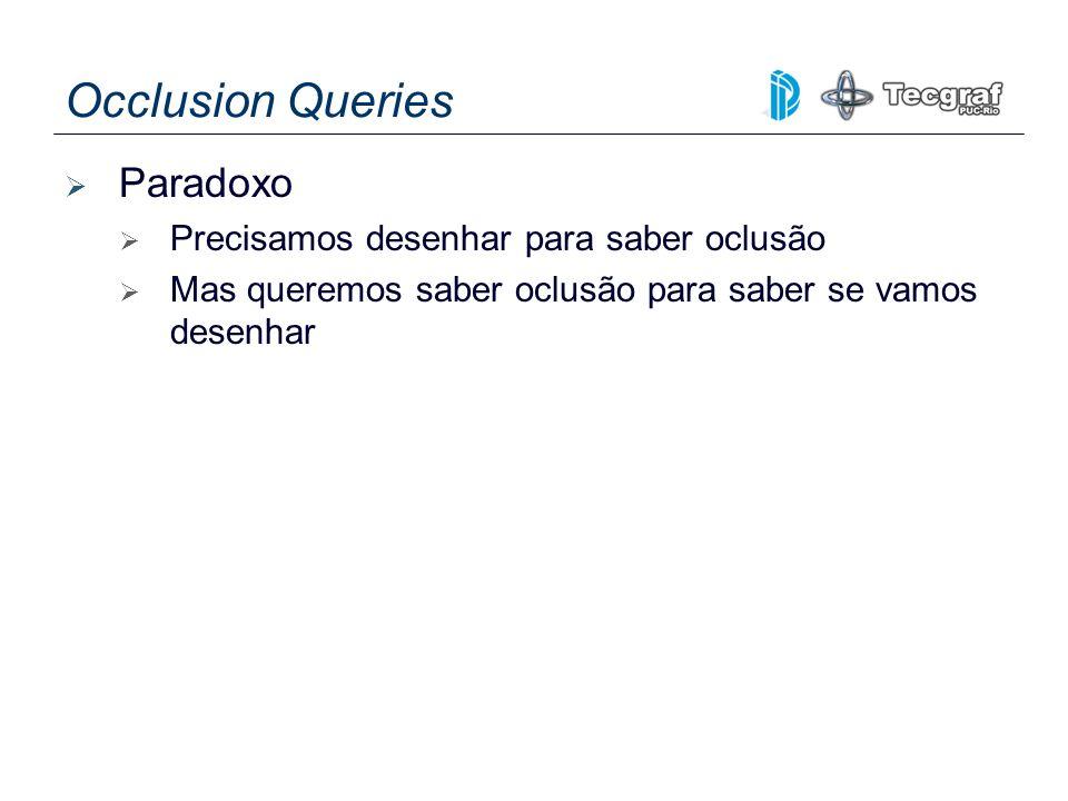 Occlusion Queries Paradoxo Precisamos desenhar para saber oclusão Mas queremos saber oclusão para saber se vamos desenhar