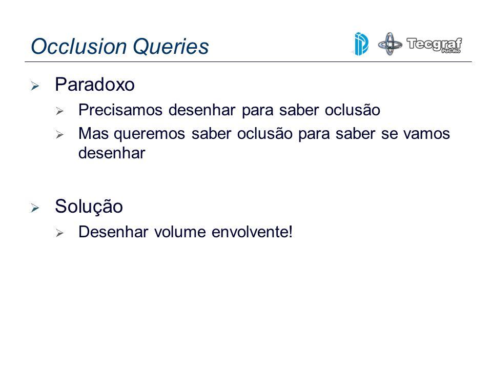Occlusion Queries Paradoxo Precisamos desenhar para saber oclusão Mas queremos saber oclusão para saber se vamos desenhar Solução Desenhar volume envo