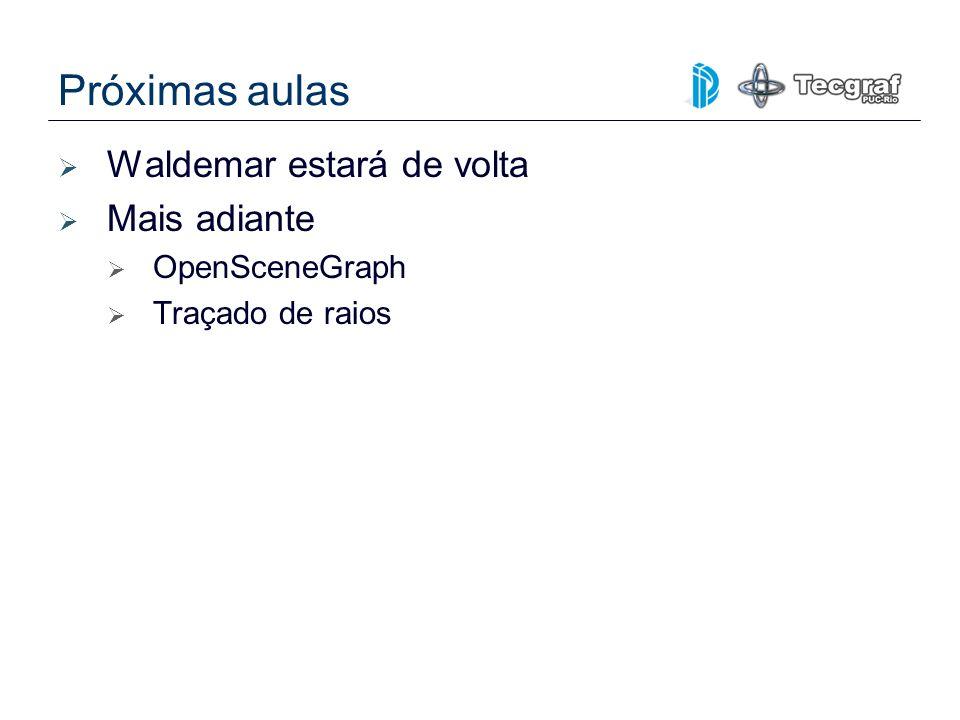 Próximas aulas Waldemar estará de volta Mais adiante OpenSceneGraph Traçado de raios