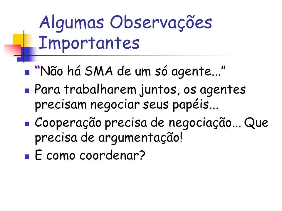 Algumas Observações Importantes Não há SMA de um só agente...