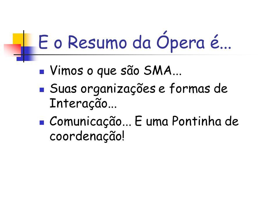 E o Resumo da Ópera é... Vimos o que são SMA... Suas organizações e formas de Interação...
