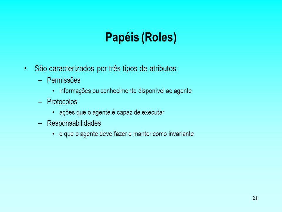 21 Papéis (Roles) São caracterizados por três tipos de atributos: –Permissões informações ou conhecimento disponível ao agente –Protocolos ações que o