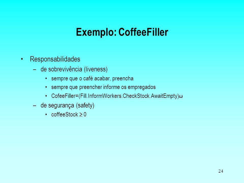 24 Exemplo: CoffeeFiller Responsabilidades –de sobrevivência (liveness) sempre que o café acabar, preencha sempre que preencher informe os empregados