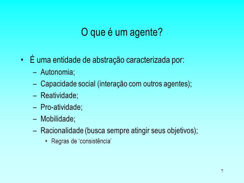 7 O que é um agente? É uma entidade de abstração caracterizada por: –Autonomia; –Capacidade social (interação com outros agentes); –Reatividade; –Pro-