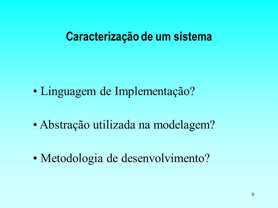 9 Caracterização de um sistema Abstração utilizada na modelagem? Linguagem de Implementação? Metodologia de desenvolvimento?