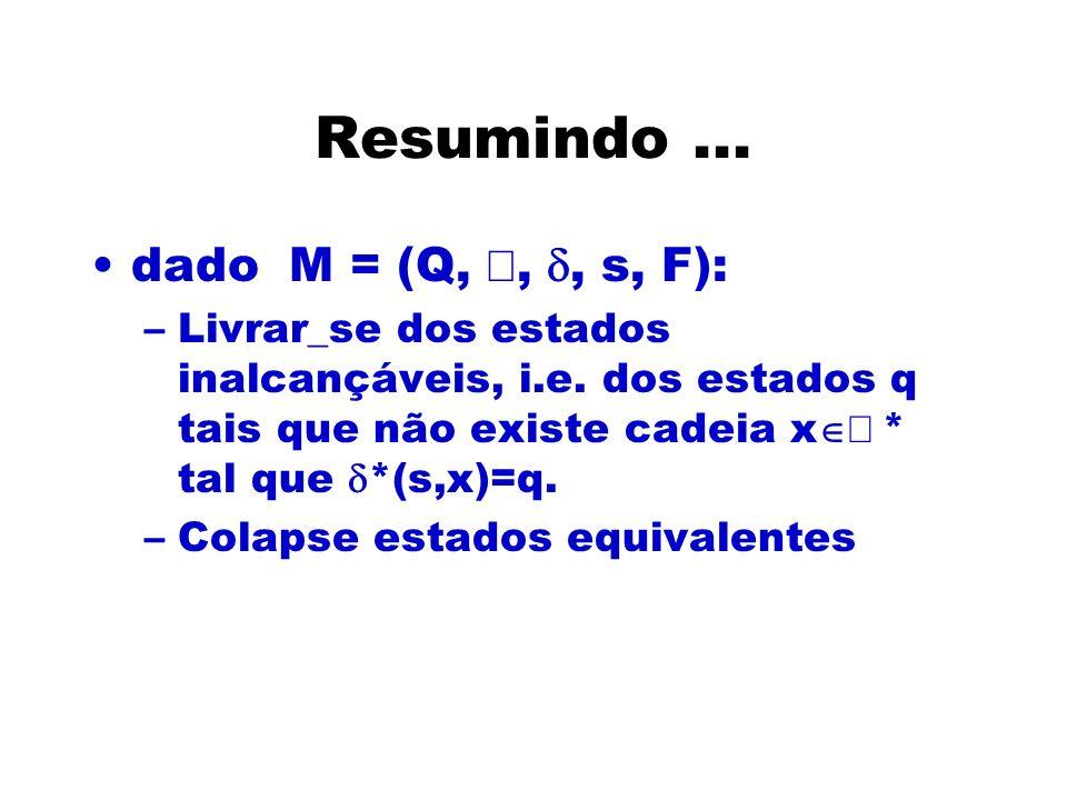Resumindo...dado M = (Q,,, s, F): –Livrar_se dos estados inalcançáveis, i.e.