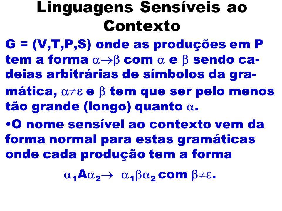 Linguagens Sensíveis ao Contexto G = (V,T,P,S) onde as produções em P tem a forma com e sendo ca- deias arbitrárias de símbolos da gra- mática, e tem