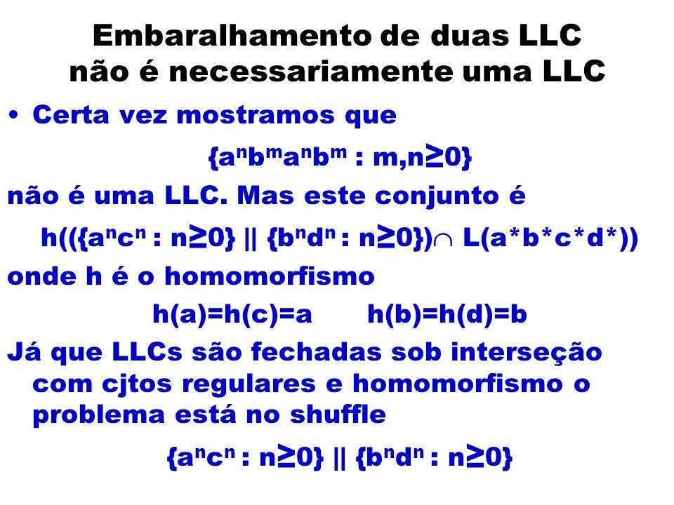 Embaralhamento de duas LLC não é necessariamente uma LLC Certa vez mostramos que {a n b m a n b m : m,n 0} não é uma LLC. Mas este conjunto é h(({a n
