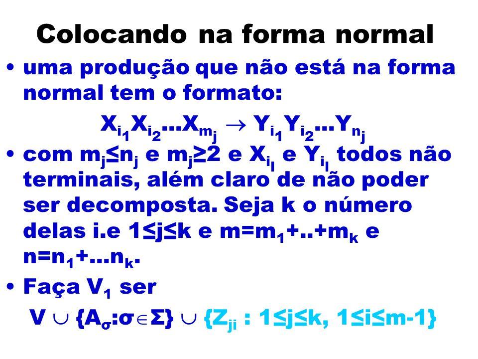 Colocando na forma normal uma produção que não está na forma normal tem o formato: X i 1 X i 2...X m j Y i 1 Y i 2...Y n j com m j n j e m j 2 e X i l