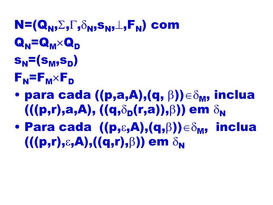N=(Q N,,, N,s N,,F N ) com Q N =Q M Q D s N =(s M,s D ) F N =F M F D para cada ((p,a,A),(q, )) M, inclua (((p,r),a,A), ((q, D (r,a)), )) em N Para cad