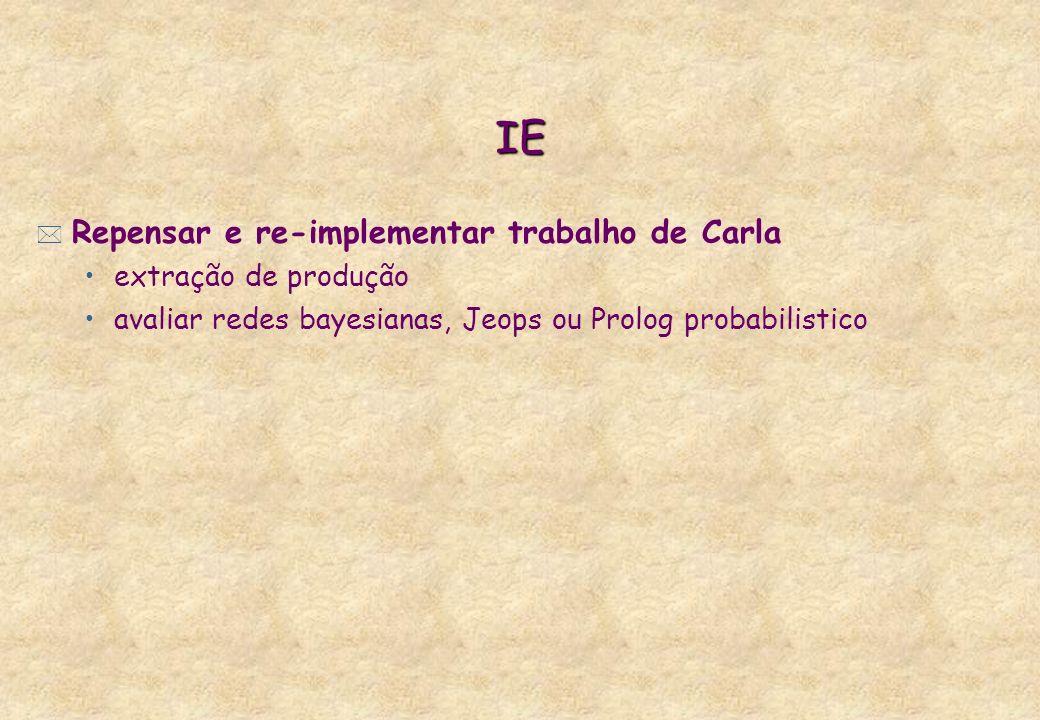IE * Repensar e re-implementar trabalho de Carla extração de produção avaliar redes bayesianas, Jeops ou Prolog probabilistico