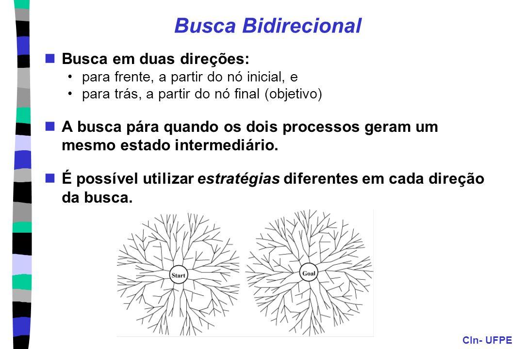 CIn- UFPE Busca Bidirecional Busca em duas direções: para frente, a partir do nó inicial, e para trás, a partir do nó final (objetivo) A busca pára qu