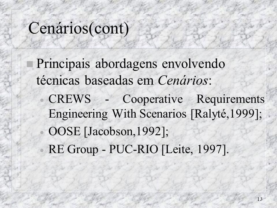 13 Cenários(cont) n Principais abordagens envolvendo técnicas baseadas em Cenários: CREWS - Cooperative Requirements Engineering With Scenarios [Ralyt