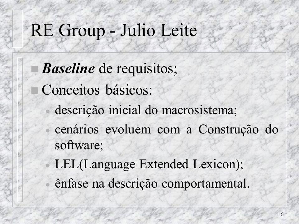 16 RE Group - Julio Leite n Baseline de requisitos; n Conceitos básicos: descrição inicial do macrosistema; cenários evoluem com a Construção do softw
