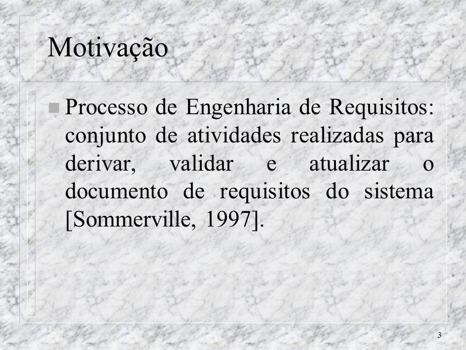 3 Motivação n Processo de Engenharia de Requisitos: conjunto de atividades realizadas para derivar, validar e atualizar o documento de requisitos do s