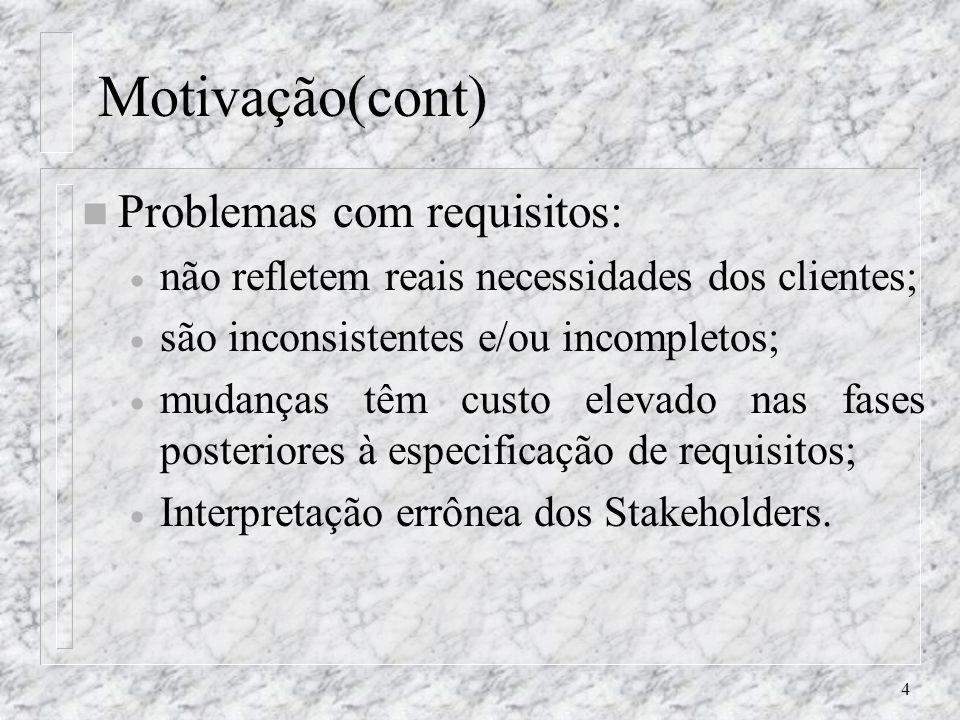 4 Motivação(cont) n Problemas com requisitos: não refletem reais necessidades dos clientes; são inconsistentes e/ou incompletos; mudanças têm custo el