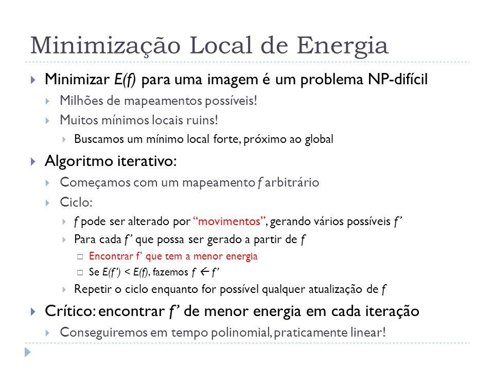 Minimização Local de Energia Minimizar E(f) para uma imagem é um problema NP-difícil Milhões de mapeamentos possíveis.