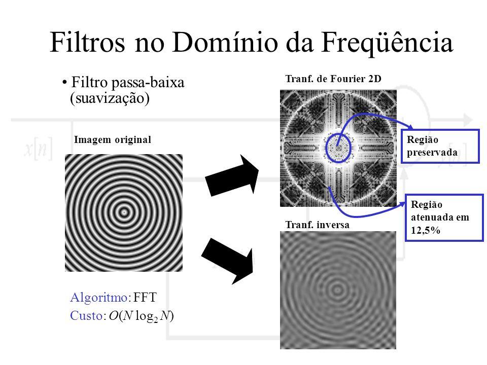 Filtros no Domínio da Freqüência Filtro passa-baixa (suavização) Imagem original Tranf. de Fourier 2D Tranf. inversa Região preservada Algoritmo: FFT