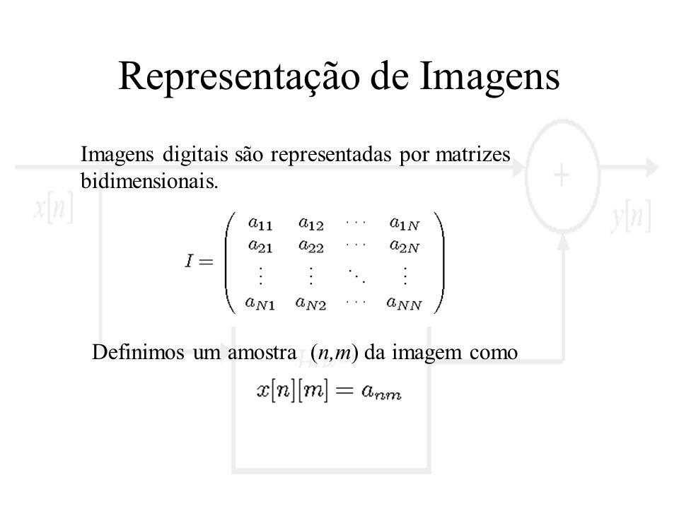 Representação de Imagens Imagens digitais são representadas por matrizes bidimensionais. Definimos um amostra (n,m) da imagem como