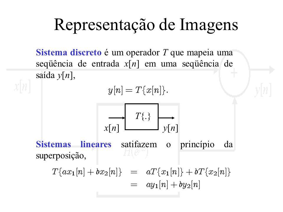 Representação de Imagens Sistema discreto é um operador T que mapeia uma seqüência de entrada x[n] em uma seqüência de saída y[n], x[n]x[n]y[n]y[n] T{