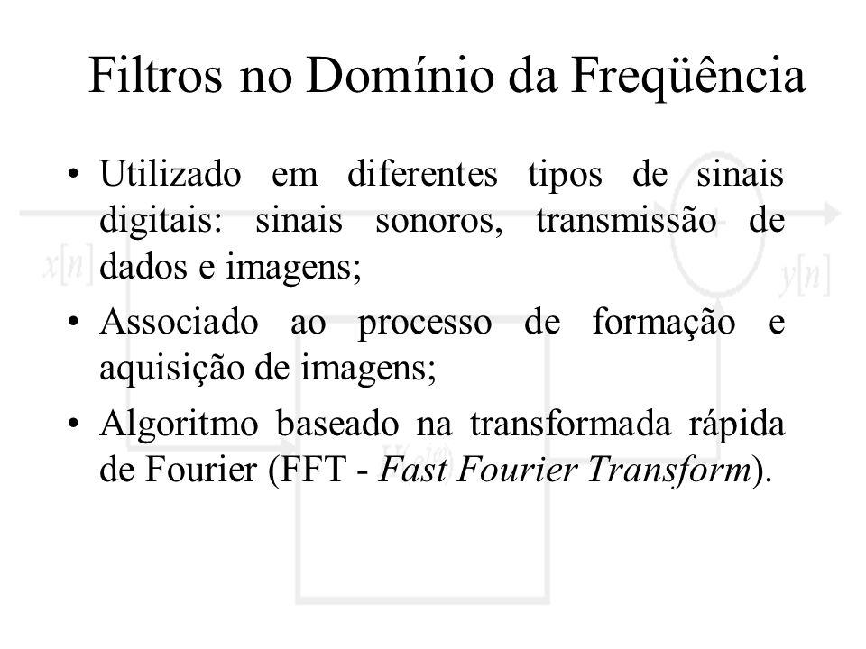 Filtros no Domínio da Freqüência Utilizado em diferentes tipos de sinais digitais: sinais sonoros, transmissão de dados e imagens; Associado ao proces