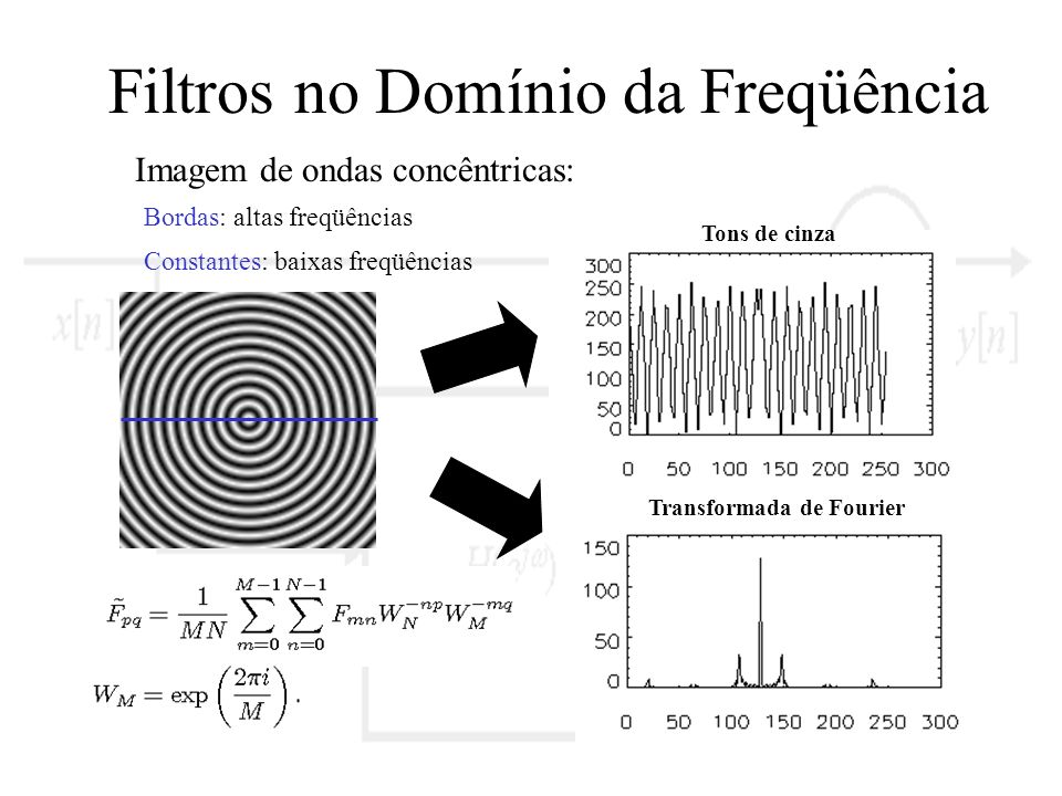 Filtros no Domínio da Freqüência Imagem de ondas concêntricas: Transformada de Fourier Tons de cinza Bordas: altas freqüências Constantes: baixas freq