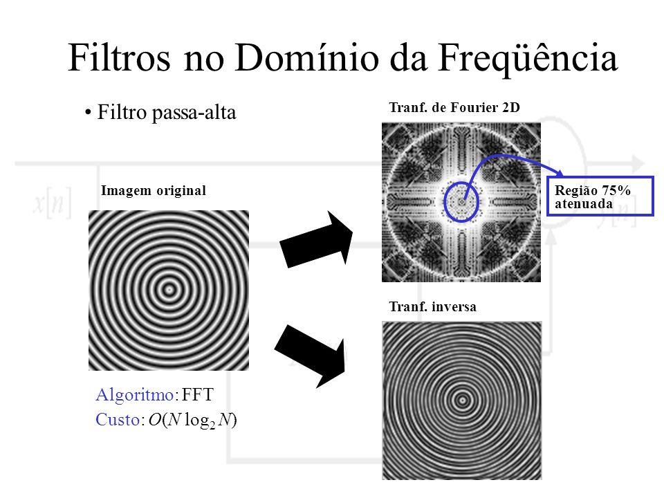 Filtros no Domínio da Freqüência Filtro passa-alta Imagem original Tranf. de Fourier 2D Tranf. inversa Região 75% atenuada Algoritmo: FFT Custo: O(N l