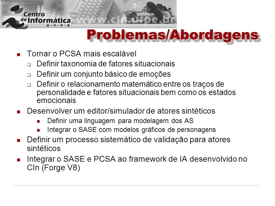 Problemas/AbordagensProblemas/Abordagens Tornar o PCSA mais escalável Definir taxonomia de fatores situacionais Definir um conjunto básico de emoções