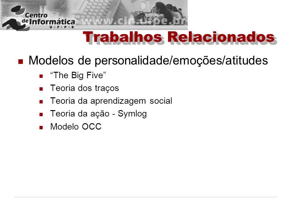 Trabalhos Relacionados Modelos de personalidade/emoções/atitudes The Big Five Teoria dos traços Teoria da aprendizagem social Teoria da ação - Symlog