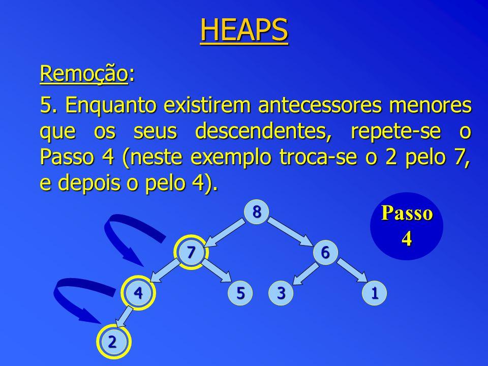 HEAPS Remoção: 5. Enquanto existirem antecessores menores que os seus descendentes, repete-se o Passo 4 (neste exemplo troca-se o 2 pelo 7, e depois o