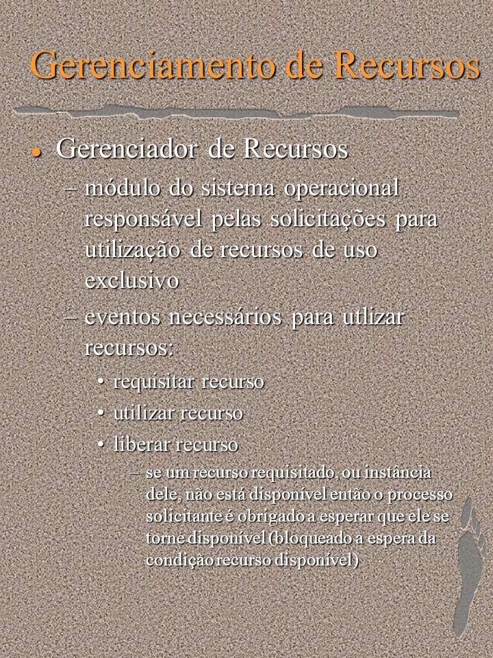 Gerenciamento de Recursos l Gerenciador de Recursos –módulo do sistema operacional responsável pelas solicitações para utilização de recursos de uso e