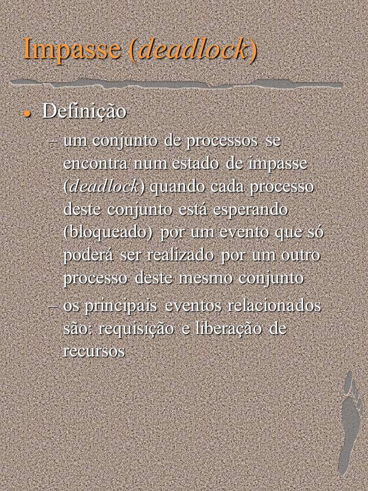 Impasse (deadlock) l Definição –um conjunto de processos se encontra num estado de impasse (deadlock) quando cada processo deste conjunto está esperan