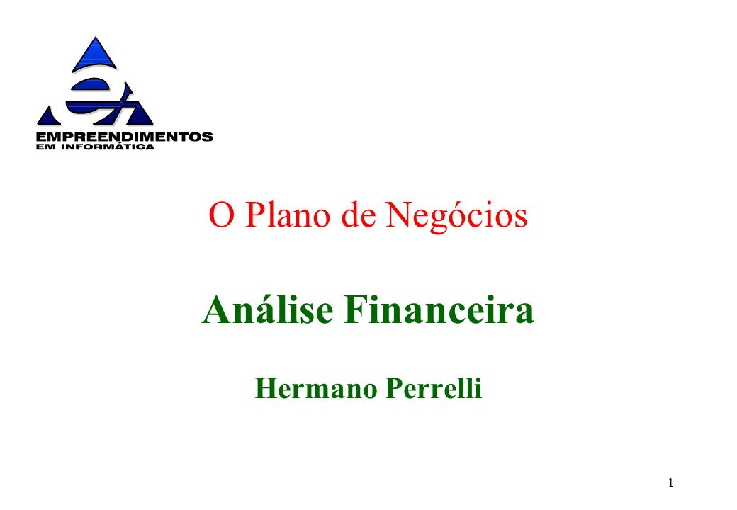 1 O Plano de Negócios Análise Financeira Hermano Perrelli