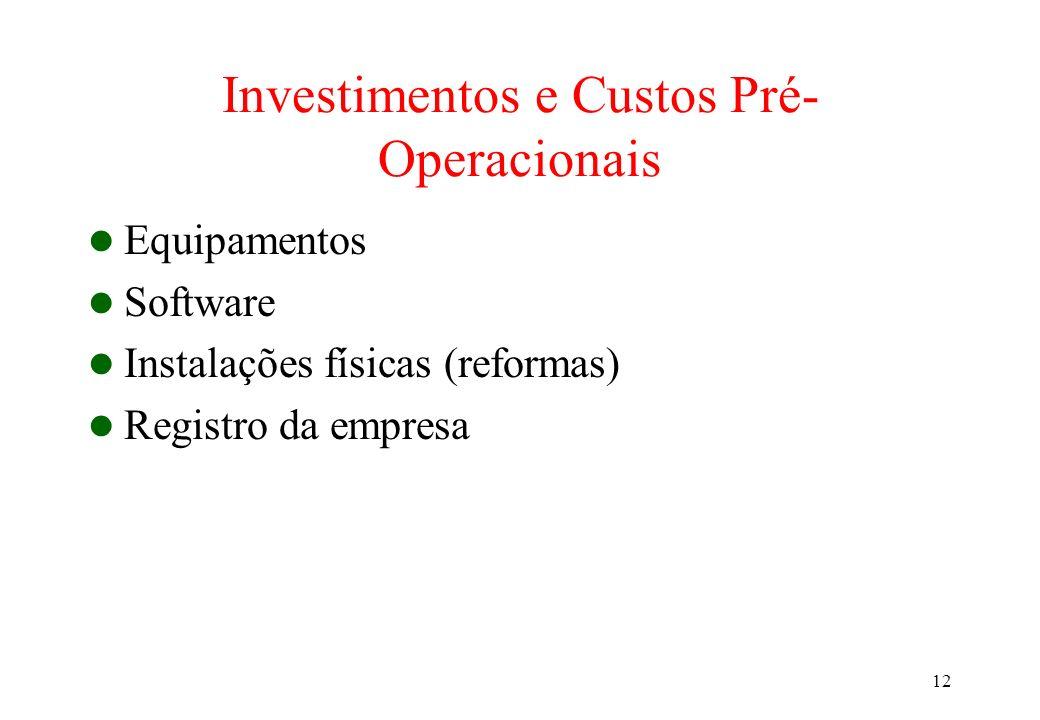 12 Investimentos e Custos Pré- Operacionais Equipamentos Software Instalações físicas (reformas) Registro da empresa