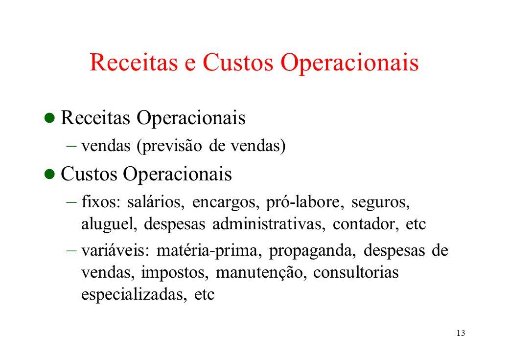 13 Receitas e Custos Operacionais Receitas Operacionais – vendas (previsão de vendas) Custos Operacionais – fixos: salários, encargos, pró-labore, seg