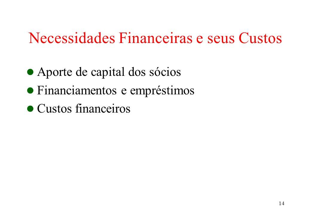 14 Necessidades Financeiras e seus Custos Aporte de capital dos sócios Financiamentos e empréstimos Custos financeiros