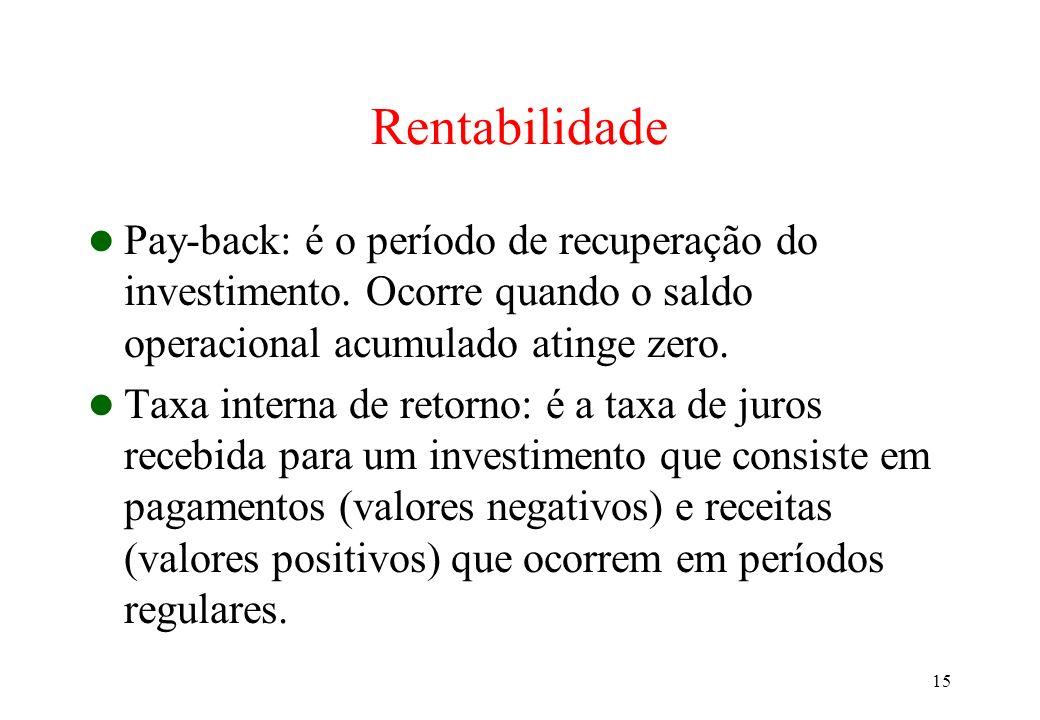 15 Rentabilidade Pay-back: é o período de recuperação do investimento. Ocorre quando o saldo operacional acumulado atinge zero. Taxa interna de retorn