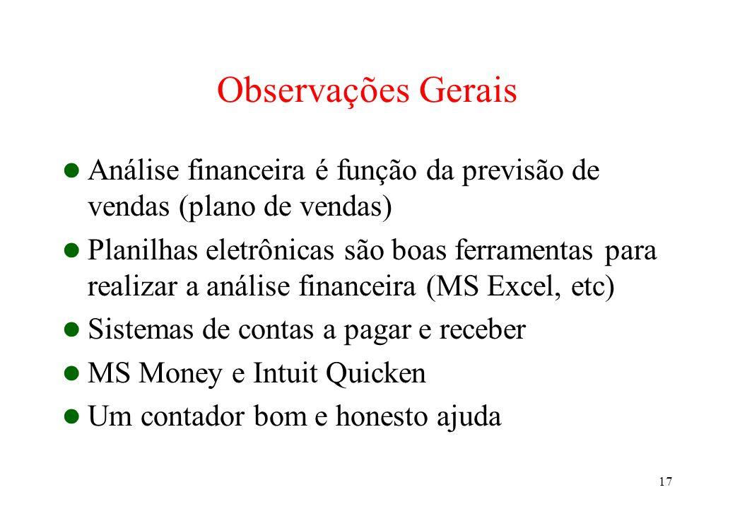 17 Observações Gerais Análise financeira é função da previsão de vendas (plano de vendas) Planilhas eletrônicas são boas ferramentas para realizar a a