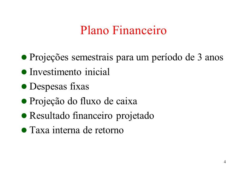 4 Plano Financeiro Projeções semestrais para um período de 3 anos Investimento inicial Despesas fixas Projeção do fluxo de caixa Resultado financeiro