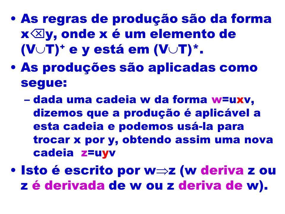 As regras de produção são da forma x y, onde x é um elemento de (V T) + e y está em (V T)*. As produções são aplicadas como segue: –dada uma cadeia w