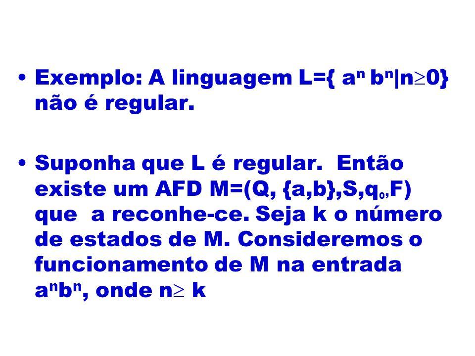 Exemplo: A linguagem L={ a n b n |n 0} não é regular. Suponha que L é regular. Então existe um AFD M=(Q, {a,b},S,q 0, F) que a reconhe-ce. Seja k o nú